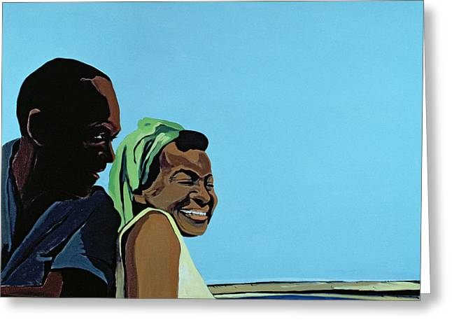 Couples Paintings Greeting Cards - Cuban Portrait No.10, 1996 Greeting Card by Marjorie Weiss