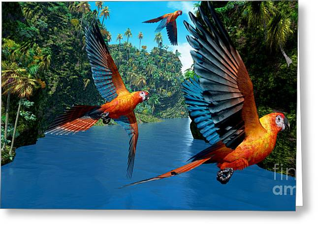 Bipedal Greeting Cards - Cuban Red Macaw 2 Greeting Card by Corey Ford