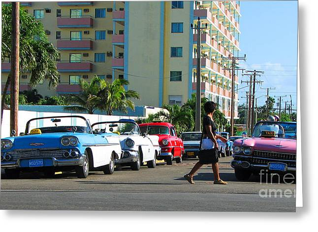 Taxi Stands Greeting Cards - Cubano Taxi Greeting Card by Anita Braconnier