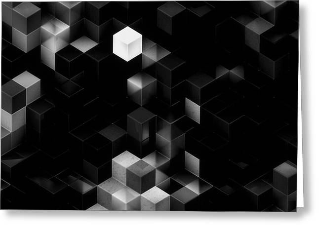 Creating Greeting Cards - Cubed - Black and White Greeting Card by Jack Zulli