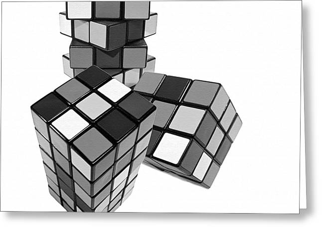 Geometric Image Greeting Cards - Cubed - Shades of Grey Greeting Card by Kaye Menner