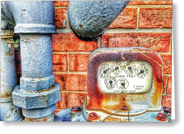 Gas Meter Greeting Cards - Cubic feet only Greeting Card by Olivier Calas