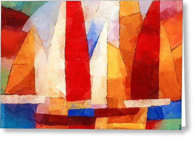 Sailboat Ocean Mixed Media Greeting Cards - Cubic Maritime Greeting Card by Lutz Baar