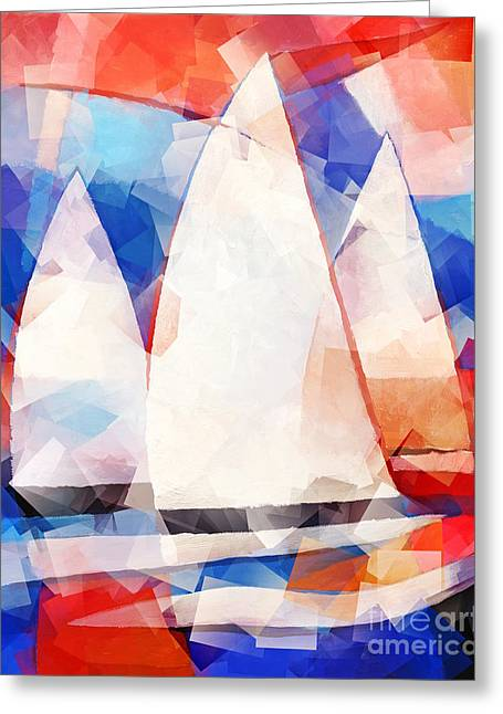 Ocean Sailing Greeting Cards - Cubic Sails Greeting Card by Lutz Baar