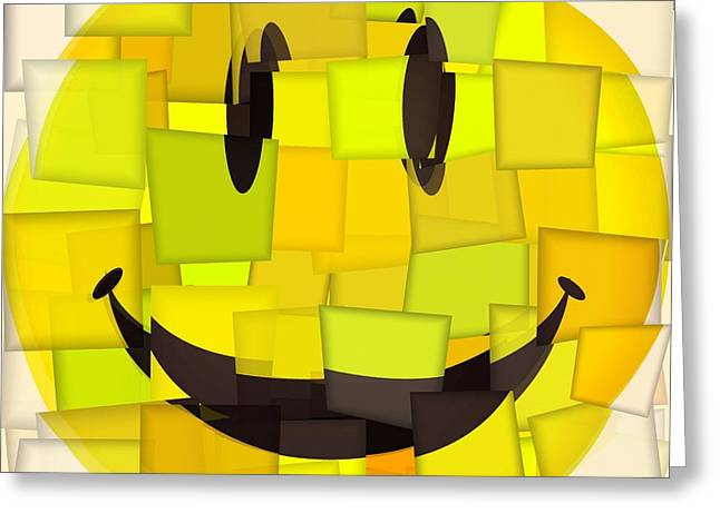 Enjoying Life Mixed Media Greeting Cards - Cubism Smiley Face Greeting Card by Dan Sproul