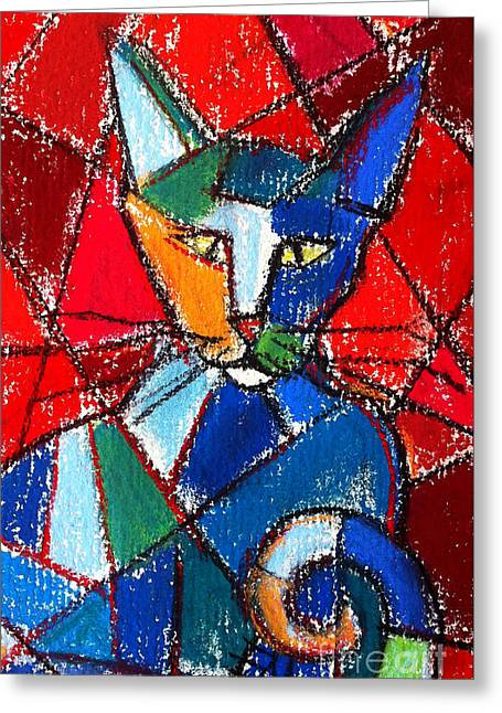 Cubist Pastels Greeting Cards - Cubist Colorful Cat Greeting Card by Mona Edulesco