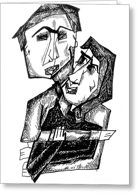 Cubist Drawings Greeting Cards - Cubist Couple Greeting Card by Ashley Grebe