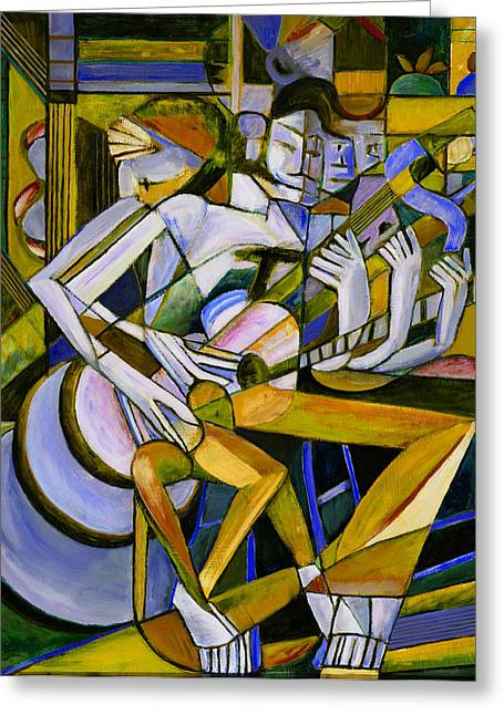 Juanes Greeting Cards - Cubist Descending Guitar yellow Greeting Card by Terrie  Rockwell