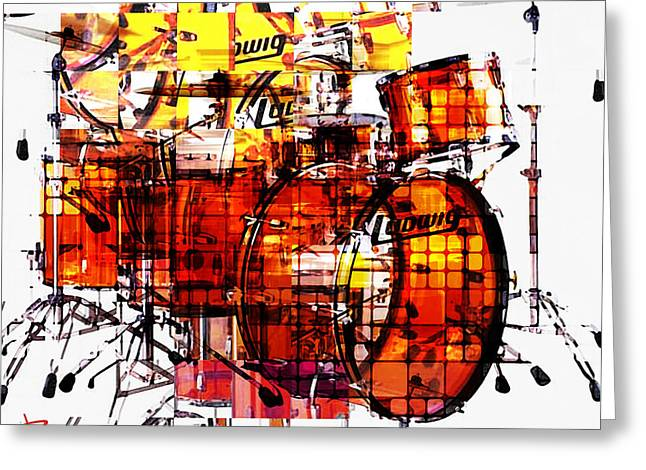 Cubist Drums Greeting Card by Russell Pierce