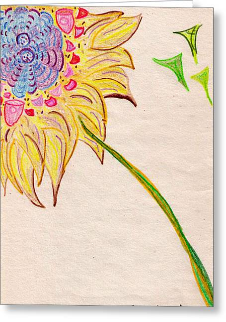 Lois Picasso Greeting Cards - Cubist Flowers Greeting Card by Lois Picasso