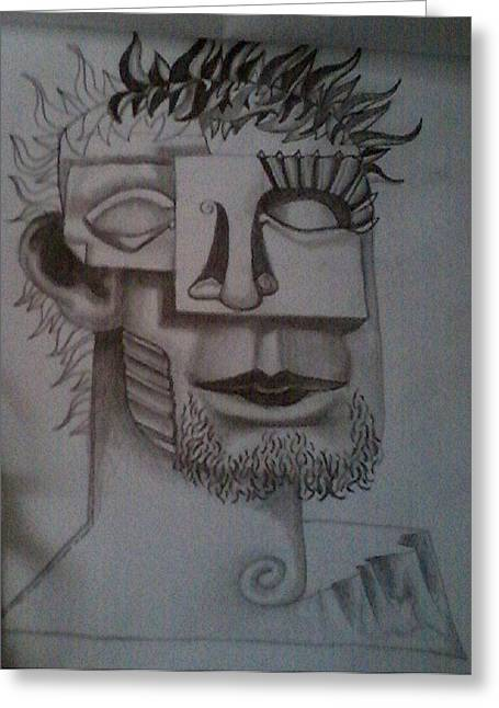 Cubist Drawings Greeting Cards - Cubist Gentleman Greeting Card by Georgann Micono