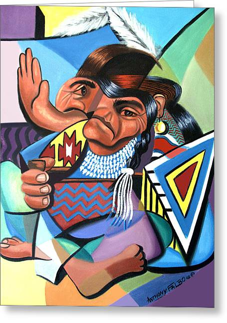 Cubist Digital Art Greeting Cards - Cubist Indian  Greeting Card by Anthony Falbo