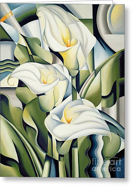 Green Leafs Greeting Cards - Cubist lilies Greeting Card by Catherine Abel