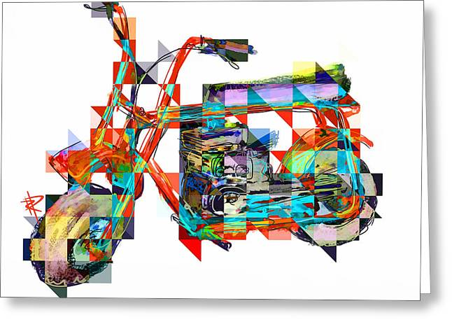 Briggs Greeting Cards - Cubist Mini Bike Greeting Card by Russell Pierce