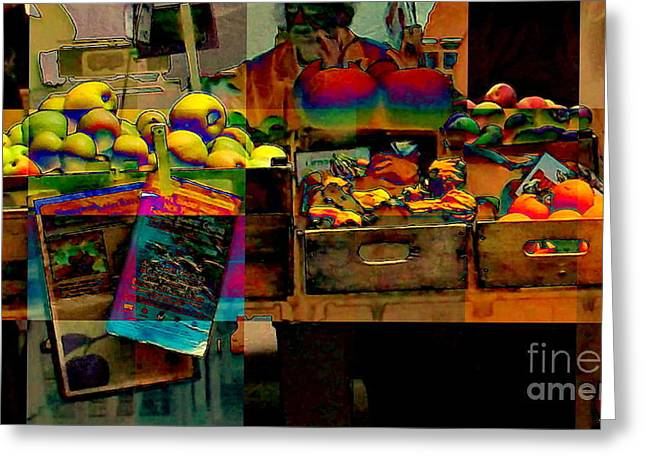 Corner Kitchen Greeting Cards - Fauvist Farmers Market - NYC Markets Greeting Card by Miriam Danar