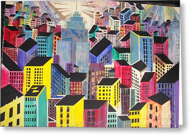 James Dolan Greeting Cards - Cubist New York Greeting Card by James Dolan