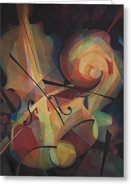 Classical Music Greeting Cards - Cubist Play - Abstract Cello Greeting Card by Susanne Clark