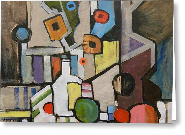 Cubist Still Life With A Guitar Greeting Card by Micheal Jones