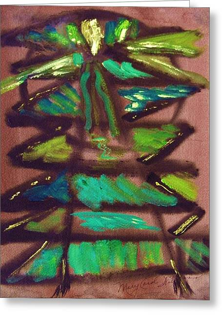 Cubist Drawings Greeting Cards - Cubist Tree Greeting Card by Mary Carol Williams