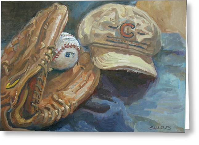 Baseball Gloves Paintings Greeting Cards - Cubs Fan Greeting Card by Nora Sallows