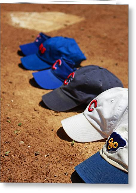 Baseball Bat Greeting Cards - Cubs Hats Greeting Card by Marc Henderson