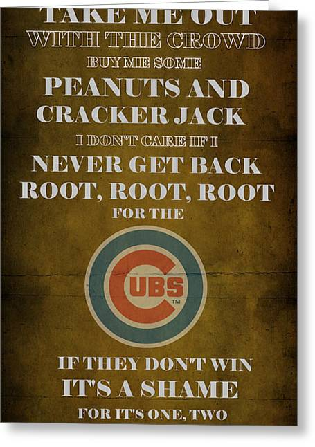 Baseball Game Digital Art Greeting Cards - Cubs Peanuts and Cracker Jack  Greeting Card by Movie Poster Prints