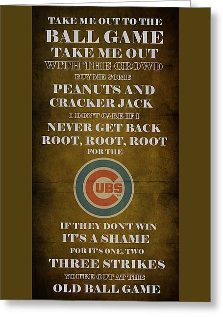 Cabin Wall Greeting Cards - Cubs Peanuts and Cracker Jack  Greeting Card by Movie Poster Prints