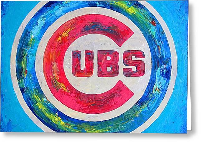 Chicago Cubs Baseball Greeting Card by Dan Haraga