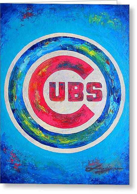 Sport Illustrations Mixed Media Greeting Cards - Chicago Cubs Baseball Greeting Card by Dan Haraga