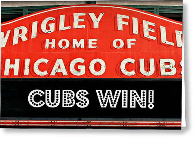 North Side Greeting Cards - Cubs Win - Wrigley Sign Greeting Card by Stephen Stookey