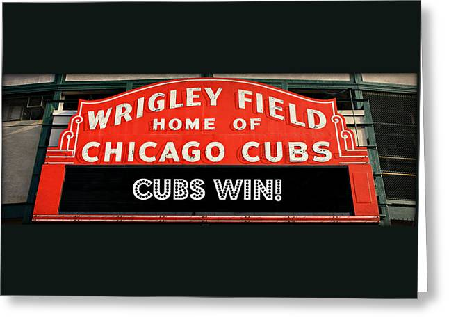 Ron Woods Greeting Cards - Cubs Win - Wrigley Sign Greeting Card by Stephen Stookey