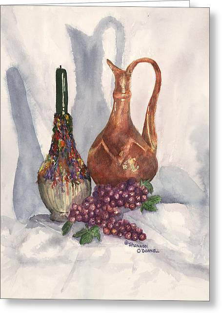 Decanters Paintings Greeting Cards - Cucina Cucina Greeting Card by Shannon O