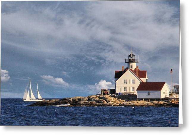 Boothbay Harbor Greeting Cards - Cuckolds Light Greeting Card by Lori Deiter