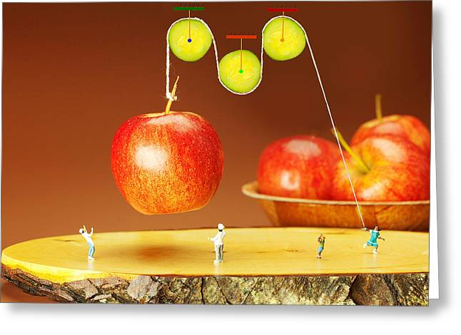 Creative People Greeting Cards - Cucumber pulley moving apples food physics Greeting Card by Paul Ge