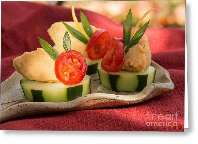 Owner Greeting Cards - Cucumber with Hummus Greeting Card by Iris Richardson