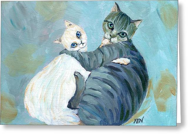 Cat Art Greeting Cards - Cuddling Cats Greeting Card by Jingfen Hwu