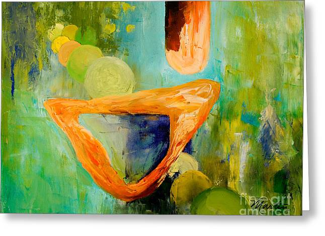 Recently Sold -  - Surreal Geometric Greeting Cards - Cue LOrange Greeting Card by Larry Martin