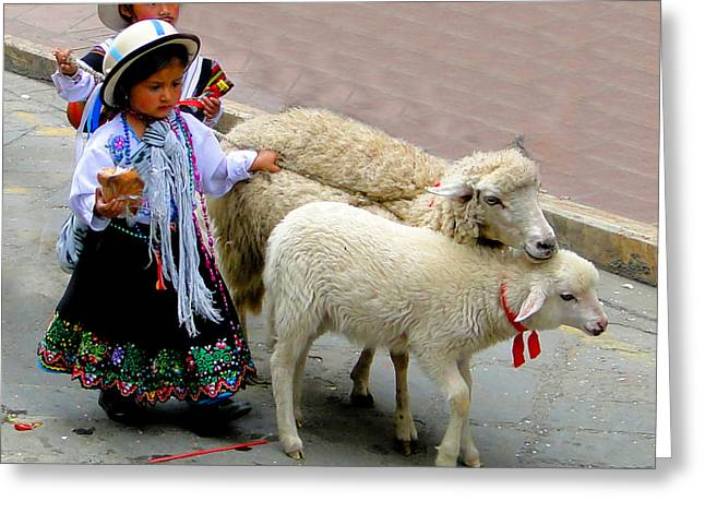 Canadian Photographers Greeting Cards - Cuenca Kids 233 Greeting Card by Al Bourassa