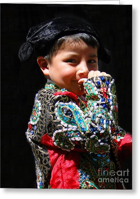 Christmas Eve Greeting Cards - Cuenca Kids 243 Greeting Card by Al Bourassa
