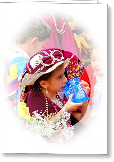Special Necklace Greeting Cards - Cuenca Kids 247 Greeting Card by Al Bourassa