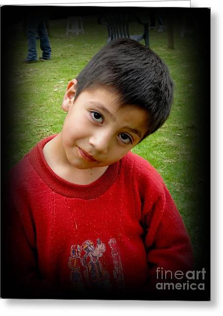 Innocence Greeting Cards - Cuenca Kids 268 Greeting Card by Al Bourassa