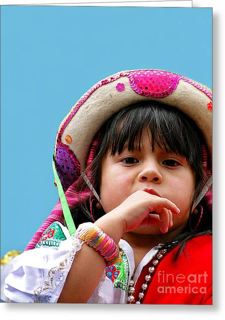Innocent Smile Greeting Cards - Cuenca Kids 297 Greeting Card by Al Bourassa
