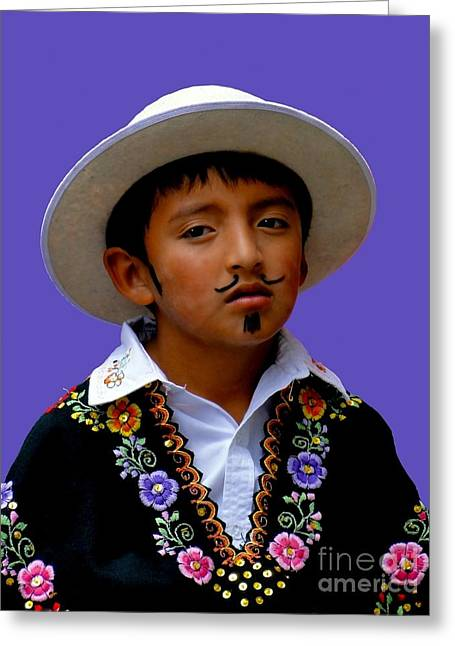Mustache Greeting Cards - Cuenca Kids 301 Greeting Card by Al Bourassa