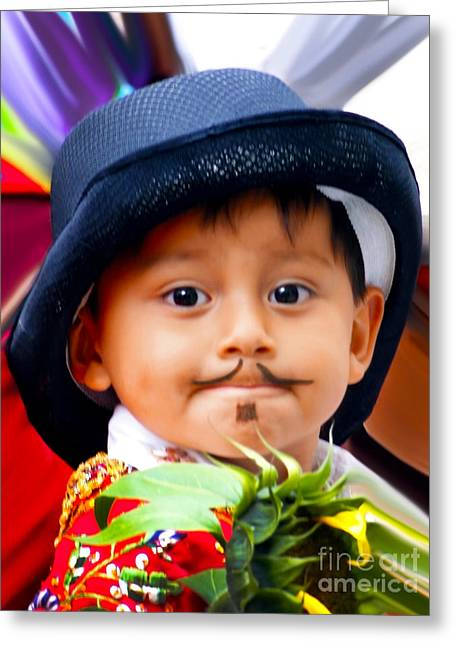 Mustache Greeting Cards - Cuenca Kids 305 Greeting Card by Al Bourassa