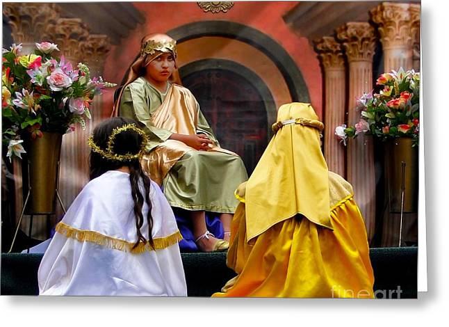 Baby Jesus Greeting Cards - Cuenca Kids 325 Greeting Card by Al Bourassa