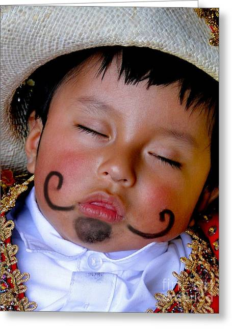 Mustache Greeting Cards - Cuenca Kids 340 Greeting Card by Al Bourassa