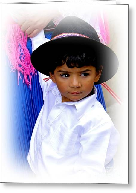Baby Jesus Greeting Cards - Cuenca Kids 371 Greeting Card by Al Bourassa