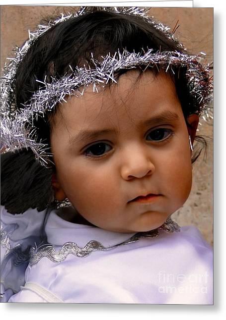 Baby Jesus Greeting Cards - Cuenca Kids 372 Greeting Card by Al Bourassa