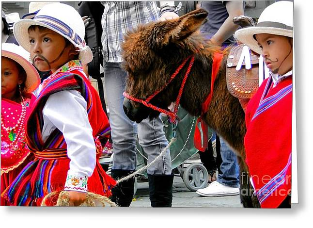 Burros Greeting Cards - Cuenca Kids 374 Greeting Card by Al Bourassa