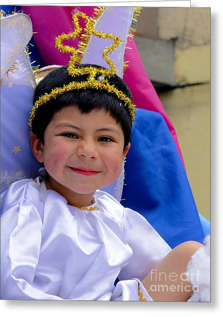 Baby Jesus Greeting Cards - Cuenca Kids 393 Greeting Card by Al Bourassa